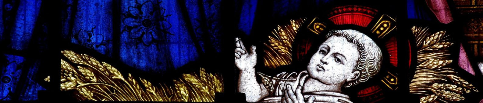 Jesus as a baby in stained glass